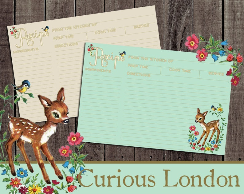 Vintage Style Retro Kitsch Deer Custom Recipe Cards from image 0