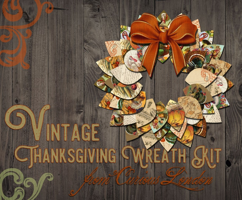 Printable Vintage Thanksgiving Instant Download Papercrafting image 0