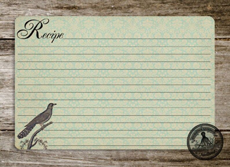 Handmade Vintage Style Old Fashioned Cuckow Bird Recipe Cards from Curious London