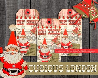 Vintage Style Handmade Retro Santa Kitschy 1950s Christmas Gift Tags from Curious London with FREE SHIPPING