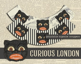 Printable Vintage Style Digital Halloween Black Cat Instant Download Cupcake Wrappers from Curious London