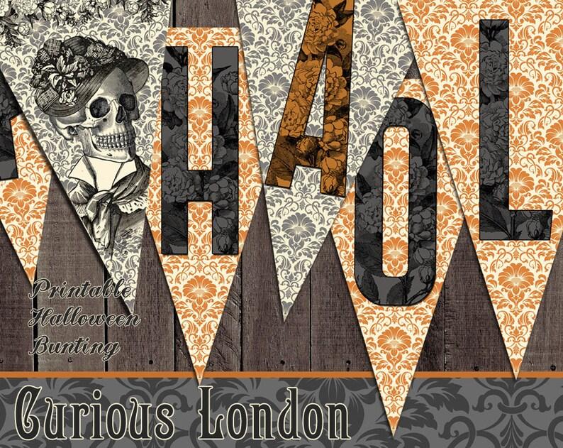 Printable Victorian Skeleton Vintage Happy Halloween Instant image 0
