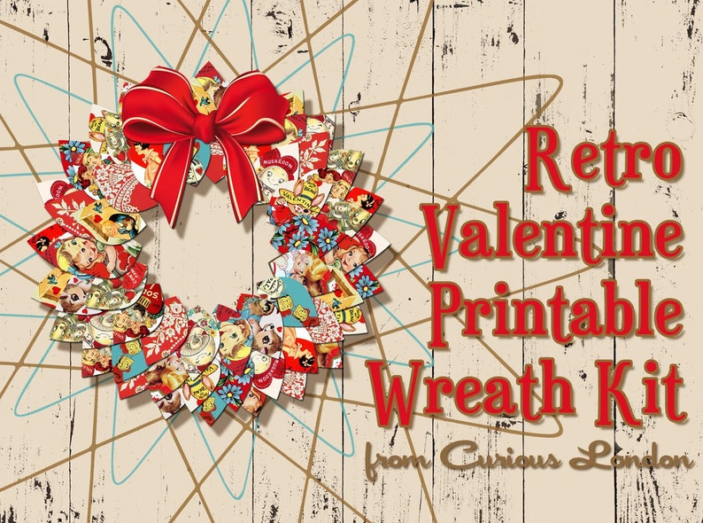 Printable Retro 1950s Valentine Instant Download Papercrafting image 0