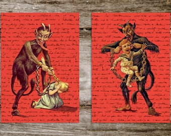 Krampus Antique Style Print Set from Curious London