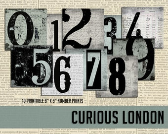 Printable Vintage Industrial Typography Number Instant Download Art Prints from Curious London
