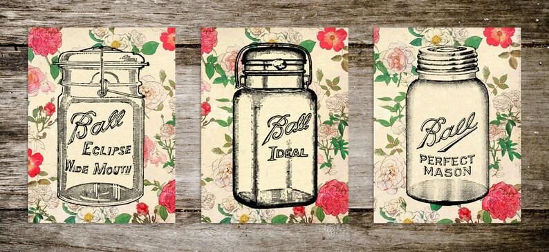Vintage Style French Floral Old Fashioned Mason Jar Print Set image 0