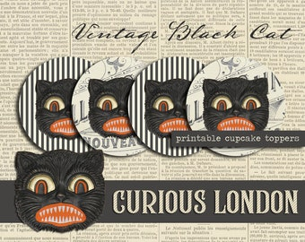 Printable Vintage Style Digital Halloween Black Cat Instant Download Cupcake Toppers from Curious London