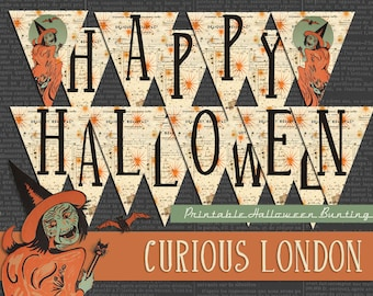 Printable Vintage Halloween Witch Party Instant Download Bunting Banner from Curious London