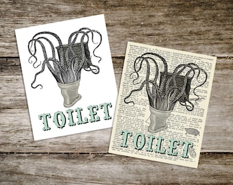 Vintage Style Antique Octopus Toilet Print from Curious London