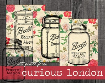 Vintage Style French Floral Old Fashioned Mason Jar Print Set from Curious London with FREE SHIPPING