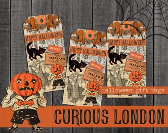 Vintage Style Handmade Retro Kitschy 1950s Halloween Gift Tags from Curious London with FREE SHIPPING
