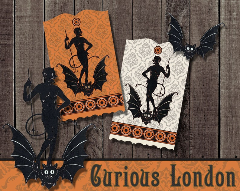 Vintage Style Retro Halloween Party Devil Gift Tags from image 0