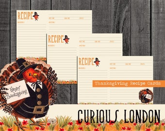 Vintage Style Handmade Kitschy Thanksgiving Recipe Cards from Curious London with FREE SHIPPING