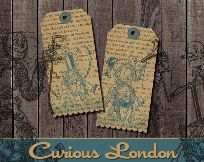Vintage Style Wizard of Oz Tin Man & Scarecrow Large Gift Tags image 0