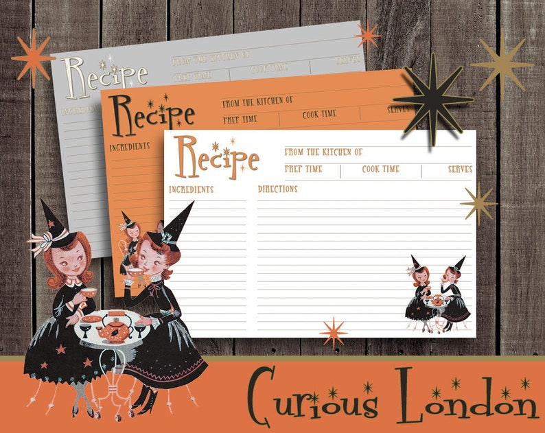 Vintage Style 1950s Retro Halloween Kitsch Witch Recipe Cards image 0