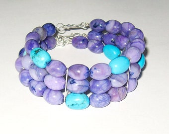 Turquoise And Purple Agate In sterling silver Triple Strand Bracelet