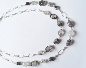 Grey Rutile Quartz In Antiqued Sterling Silver Necklace