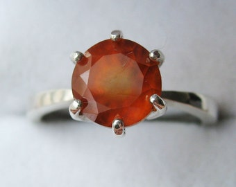 Natural Orange Hessonite Gsrnet In Sterling Silver Ring, 3.14ct. Size 7.5