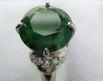 Large Natural Raw Emerald, White Topazes In Sterling Silver Cocktail Ring, 6.40ct. Size 7.5