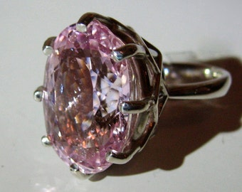 "Large Intense Pink Lavender Kunzite In Sterling Silver ""Regal"" Cocktail Ring, 14.15ct. Size 7"
