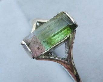 Natural Bicolor Pink Green Tourmaline In Sterling Silver Ring, 1.07ct. Size 7