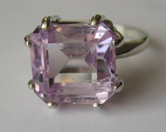 Rare Square Natural Lavender Pink Kunzite In Sterling Silver Ring, 8.63ct. Size 7