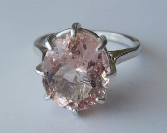 Natural Peach Morganite in Sterling Silver Cocktail Ring 4.47ct. Size 6.75 Ready Or Made To Order.