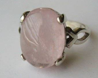 Oval Pastel Pink Morganite Cabochon In  Sterling Silver Ring. 7.97 Ct. Size 7