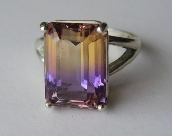 Large Natural Top Grade Bi-Color Ametrine In Sterling Silver Ring, 7.39ct. Size 7