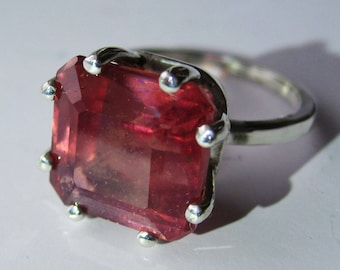 Large Natural Light Raspberry Pink Ruby In Sterling Silver Ring, 14.21ct. Size 7.
