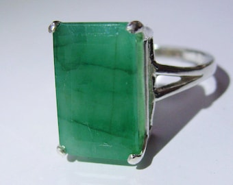 Stunning Extra Large Natural Certified Emerald In Sterling Silver Ring, 7.51ct. Size 7.5