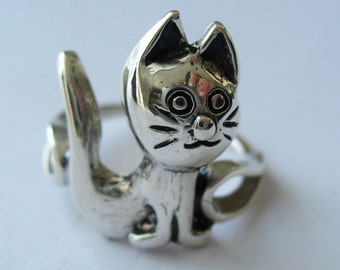 Cutie Kitty Sterling Silver Ring. Size 5.75