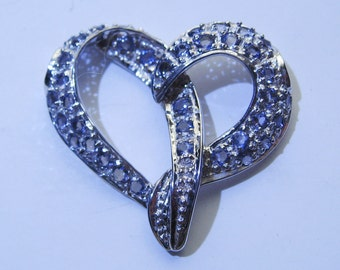 Natural Light Blue Iolites In Sterling Silver Heart Pendant Slide.