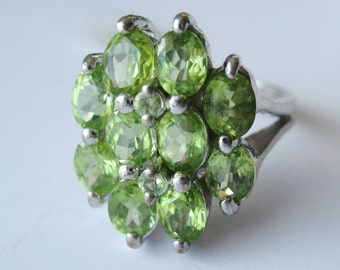 Natural Marquise Cut Peridot In Sterling Silver Multistone Cocktail Ring, Size 7.25