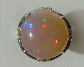 Large Stunning Multicolor Opal In Sterling Silver With Natural Yellow Sapphires Cocktail Ring, 5.74ct. Size 7.25