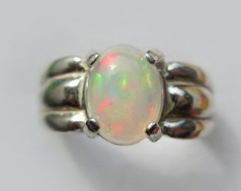Natural Precious Opal In Sterling Silver Chunky Ring, 1.24ct. Size 6.75