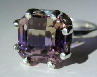 Large Top Grade Bi-Color Ametrine In Sterling Silver Ring 6.53ct. Size 7