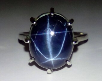 Extra Large Certified  Natural Blue Star Sapphirre Ring. Size 6.75 12.69ct