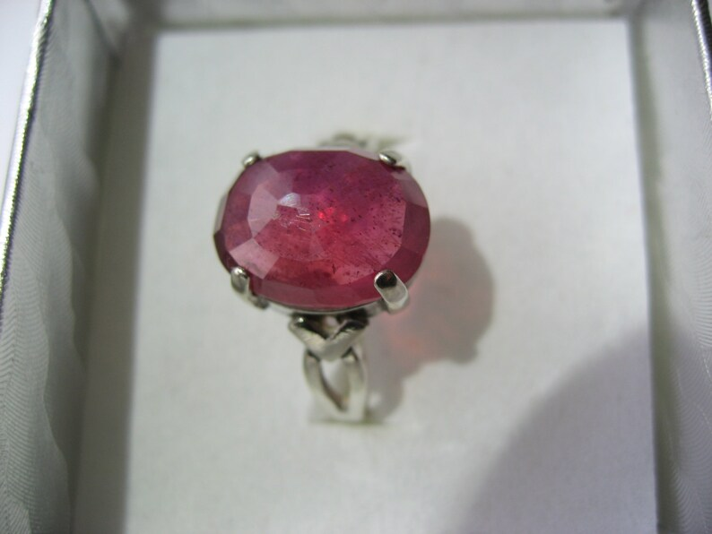 Size 7.75 Large Raving Ruby In Sterling Silver Ring 8.85ct