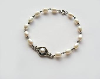 Freshwater Pearls In Sterling Silver Bracelet