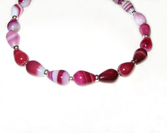 Cherry And Cream Agate In Sterling Silver Necklace
