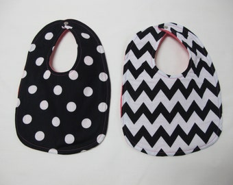 Infant 2 bib Gift Set - Black and white