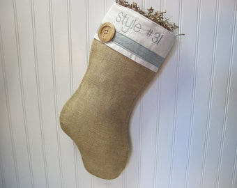 Burlap Christmas Stocking with blue accents and 1 wood button - Style #31