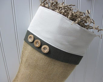 Burlap Stocking with green trim and 3 wood buttons