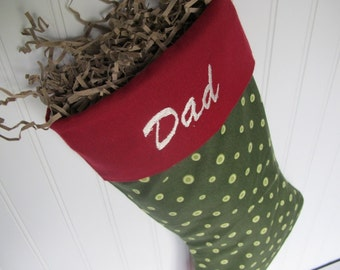 Holiday Decoration - Custom stocking with embroidered monogram - Green polka dots with burgandy cuff