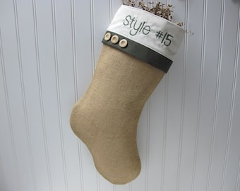 Personalized Burlap Stocking with green accents - Style #15