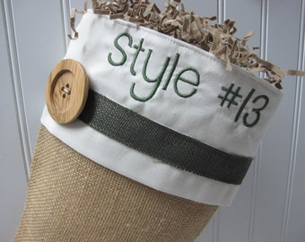 Green Accented burlap stocking - Style #13
