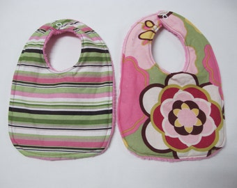 Baby Girl Infant 2 bib Gift Set - pink and green