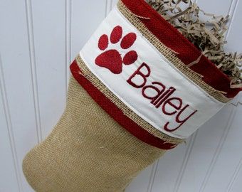 Paw Print Burlap Stocking - Pawprint and personalization included