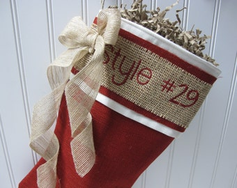 Burlap accented red stocking with embroidery - Style #29